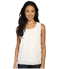 Lucky Brand Detailed Embroidered Tank Top Marsmallow Women's Sleeveless Multi