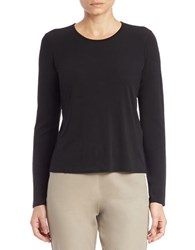 Eileen Fisher Petite Long Sleeved Silk Tee Black