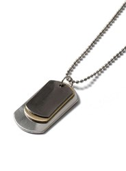 Topman Mixed Metal Triple Dog Tag Necklace Metallic