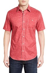 Men's Bugatchi Shaped Fit Sport Shirt Ruby Red