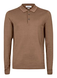 Topman Selected Homme Brown Polo Neck Long Sleeve T Shirt
