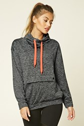 Forever 21 Active Marled Cowl Neck Top Charcoal Coral