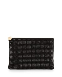 Neiman Marcus Oversized Crystal Faux Suede Clutch Black