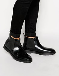Asos Chelsea Boots In Black Leather With Wedge Sole