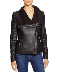 T Tahari Luisa New Andreas Drape Front Leather Jacket