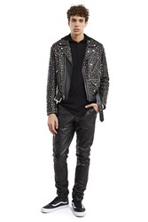 Jeremy Scott Bejewelled Leather Jacket Black