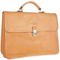 Robe Di Firenze Men's Sand Double Gusset Soft Leather Briefcase