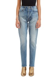 Saint Laurent High Waisted Boyfriend Jeans Blue