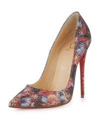 Christian Louboutin So Kate Glitter Print Red Sole Pump Multi Multicolor