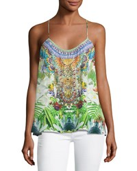 Camilla Embellished Crepe Racerback Tank Exotic Hypnotic Green Pattern