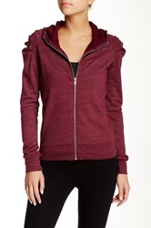 Solow Pleated Shoulder Zip Up Hoodie Red