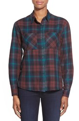 Dex Brushed Twill Plaid Shirt Burgundy Navy Plaid