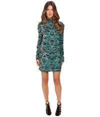 Just Cavalli Zebra Kiss Print Long Sleeve Dress Turquoise Print