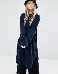 Weekday Tunic Shirt With Side Tie Detail Navy Green