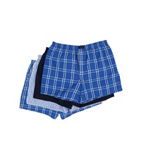 Jockey Active Blend Woven Boxer 4 Pack Blue Plaid Best Navy Blue Stripe Blue Plaid Men's Underwear