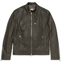Brunello Cucinelli Bruneo Cucinei Eather Bomber Jacket Green