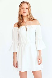Oh My Love Off The Shoulder Keyhole Mini Dress Cream