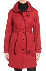 Michael Michael Kors Petite Women's Hooded Trench Coat Red