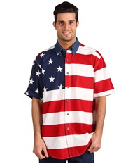 Roper Stars Stripes Pieced Flag Shirt S S Red Men's Clothing