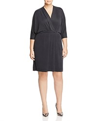 Tart Collections Plus Constance Draped Faux Wrap Dress Navy