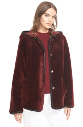 Tory Burch Hooded Reversible Genuine Shearling Jacket Red Agate