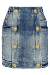 Balmain Distressed Stretch Denim Mini Skirt Blue