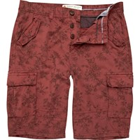 River Island Mens Red Floral Cargo Bermuda Shorts