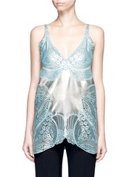 Stella Mccartney Metallic Foil Floral Guipure Lace Crepe Camisole Top Blue Multi Colour