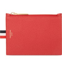 Thom Browne Small Pebbled Leather Coin Purse Red