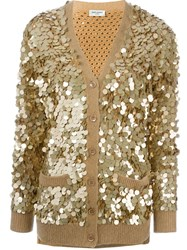 Saint Laurent Paillettes Cardigan Metallic