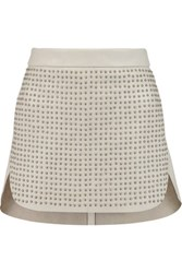 Michelle Mason Studded Leather Mini Skirt Light Gray