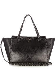 Valentino Rockstud Rolling Cracked Leather Tote Black