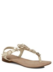Evans Extra Wide Fit Tan Flower Trim Sandals Brown