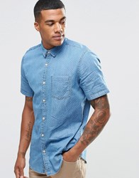 New Look Denim Shirt With Micro Print In Regular Fit Mid Blue