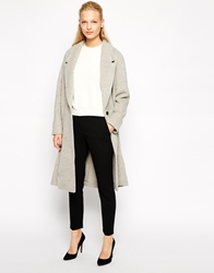 Mango Wool Midi Boyfriend Coat Grey