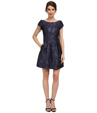 Aidan Mattox Short Sleeve Jackquard Cocktail Dress Midnight Women's Dress Navy