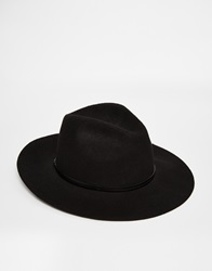 Catarzi Wide Brim Unstructured Fedora Hat Black