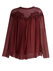 Chloe Lace Trimmed Gathered Silk Georgette Blouse Burgundy