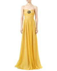 Gucci Iridescent Glitter Tulle Gown With Jeweled Patch Tulip Yellow