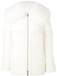 Moncler Gamme Rouge Embellished Fur Trimmed Jacket White