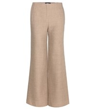 The Row Wide Leg Wool Blend Trousers Beige