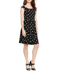 Lauren Ralph Lauren Polka Dot Print Fit And Flare Dress Black Cream