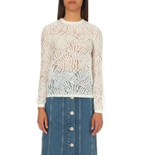 Warehouse Leaf Lace Poplin Top Cream