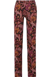 Etro Printed Stretch Jersey Wide Leg Pants Burgundy