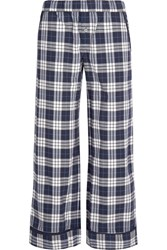 Skin Plaid Pima Cotton Pajama Pants Navy