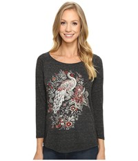 Lucky Brand Peacock Metallic Graphic Tee Jet Black Women's T Shirt