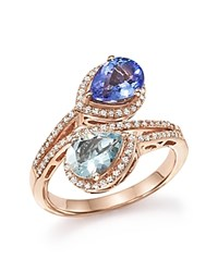 Bloomingdale's Diamond Tanzanite And Aquamarine Two Stone Wrap Ring In 14K Rose Gold