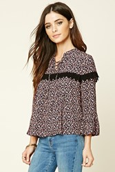 Forever 21 Floral Print Lace Up Top