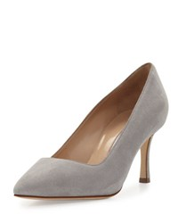 Manolo Blahnik Bb Suede 70Mm Pump Cement Light Gray Gray Red