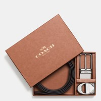 Coach Boxed Sculpted C Cut To Size Reversible Belt Black Dark Brown